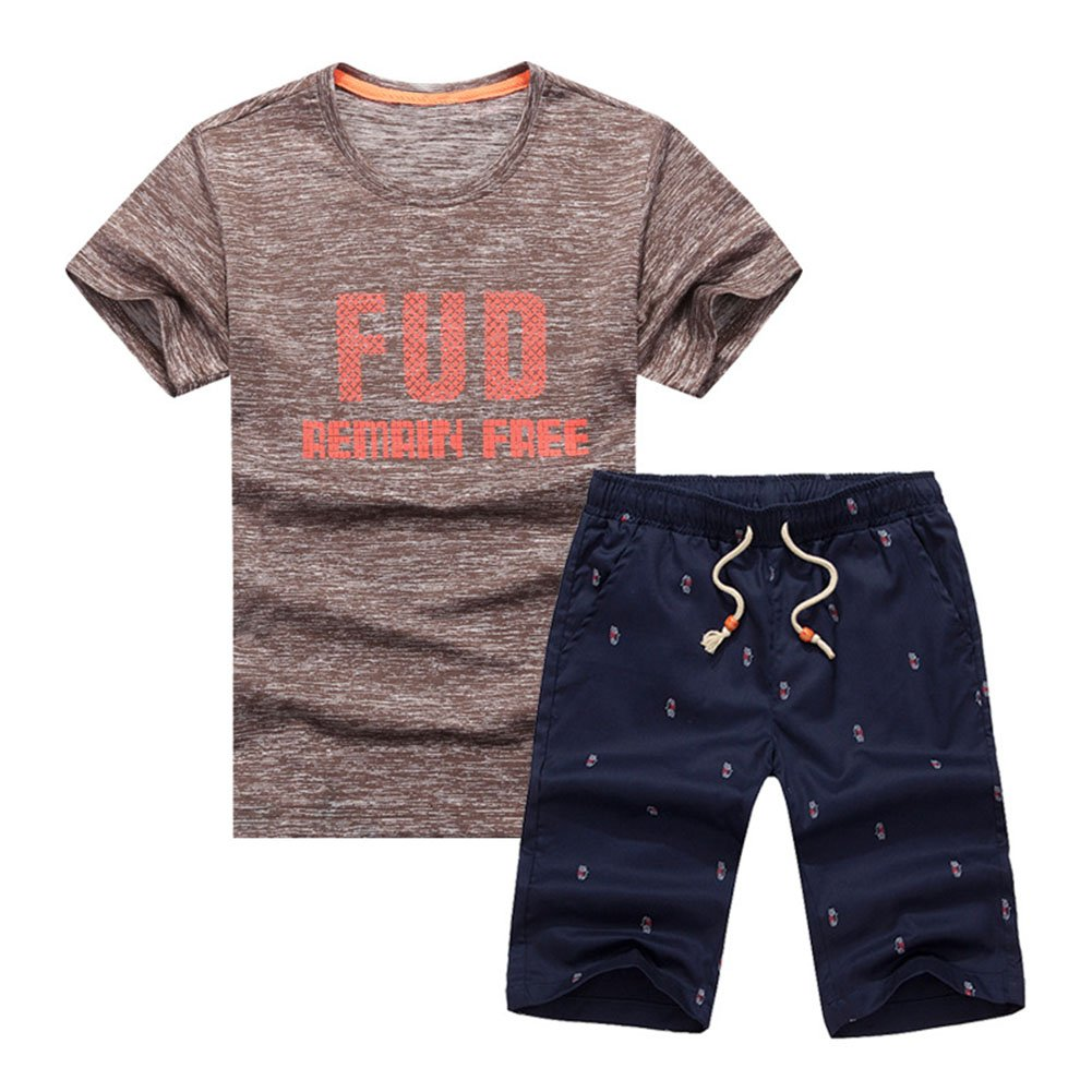 Little Boy 2 Pcs Performance Athletic Quick-Drying Casual Short Sleeve T-Shirt and Shorts Set