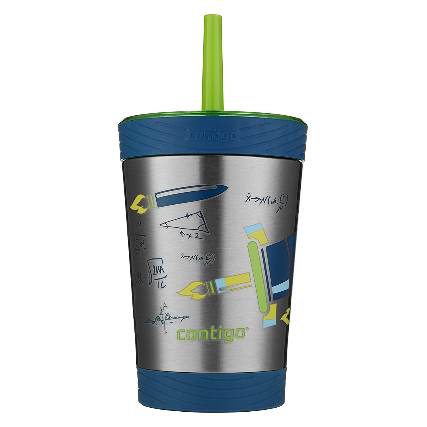 Contigo Stainless Steel Spill-Proof Kids Tumbler with Straw, 12 oz, Granny Smith with Rocket Design