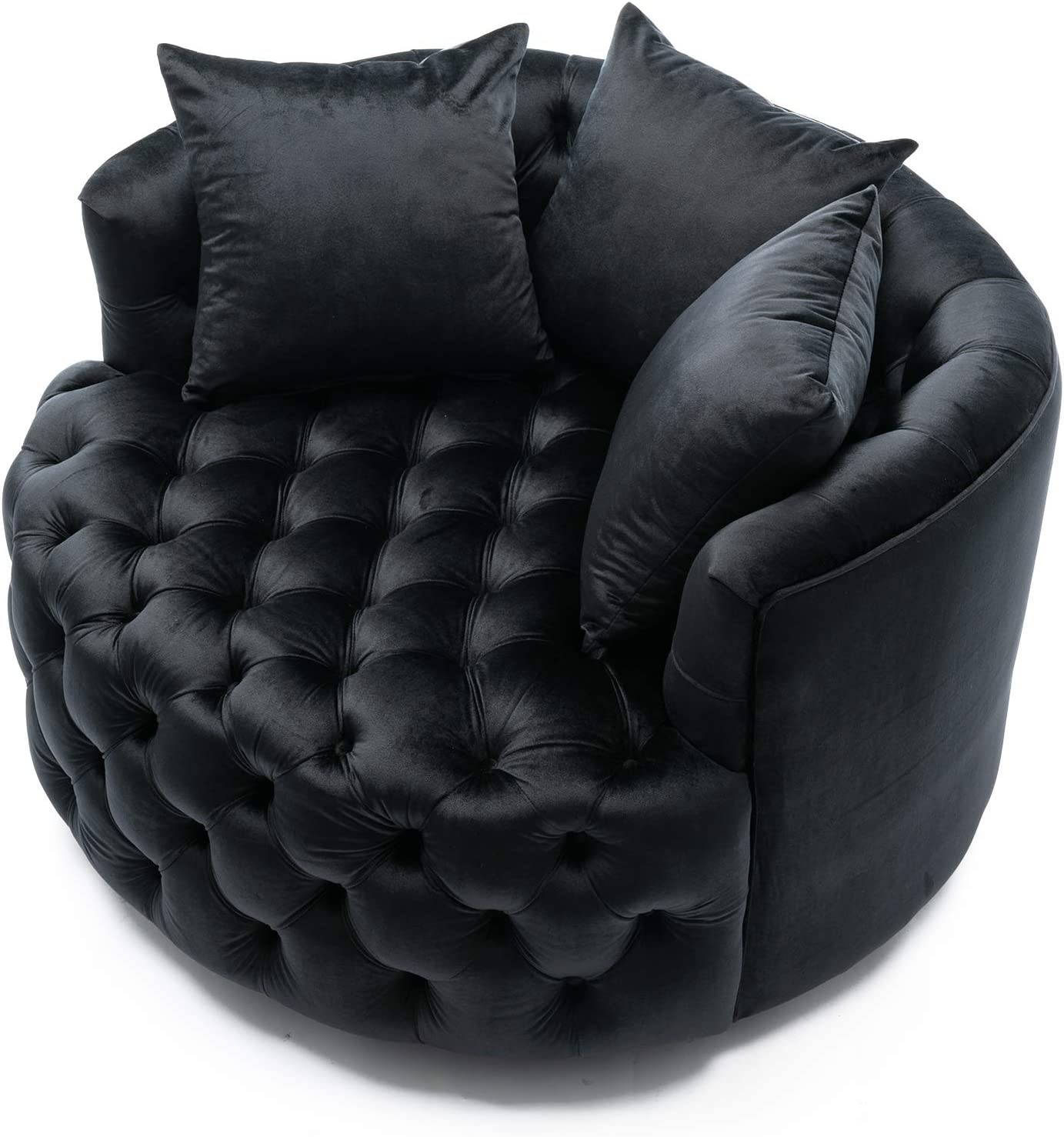 Modern Velvet Swivel Accent Chair Barrel Chair for Home Living Room/Modern Leisure Chair (43.70 Inches, Black)