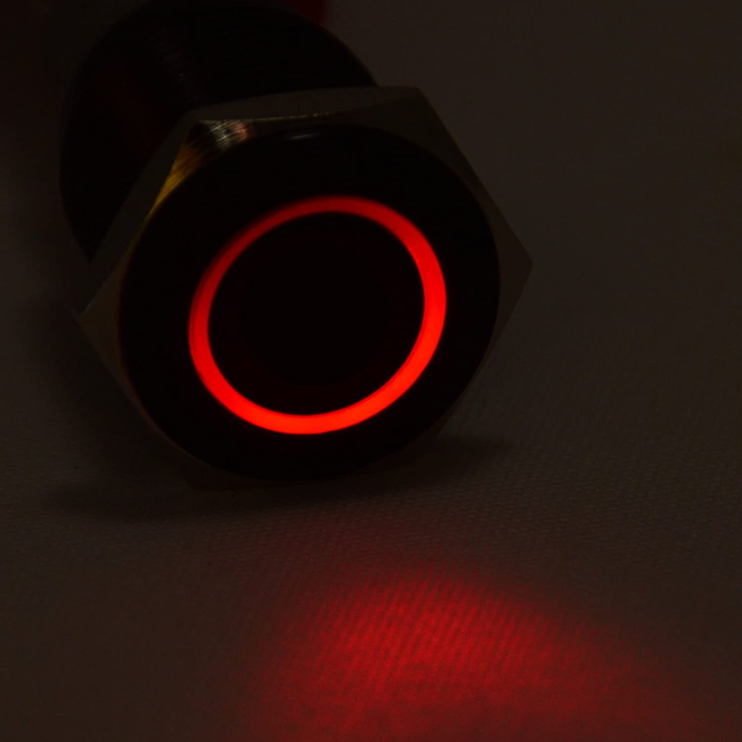 JacobsParts Latching Maintained Pushbutton ON//OFF Switch Black Aluminum Metal with Red LED fits 5//8 Diameter Panel Cutout Hole LTCH-N3-RED 16mm
