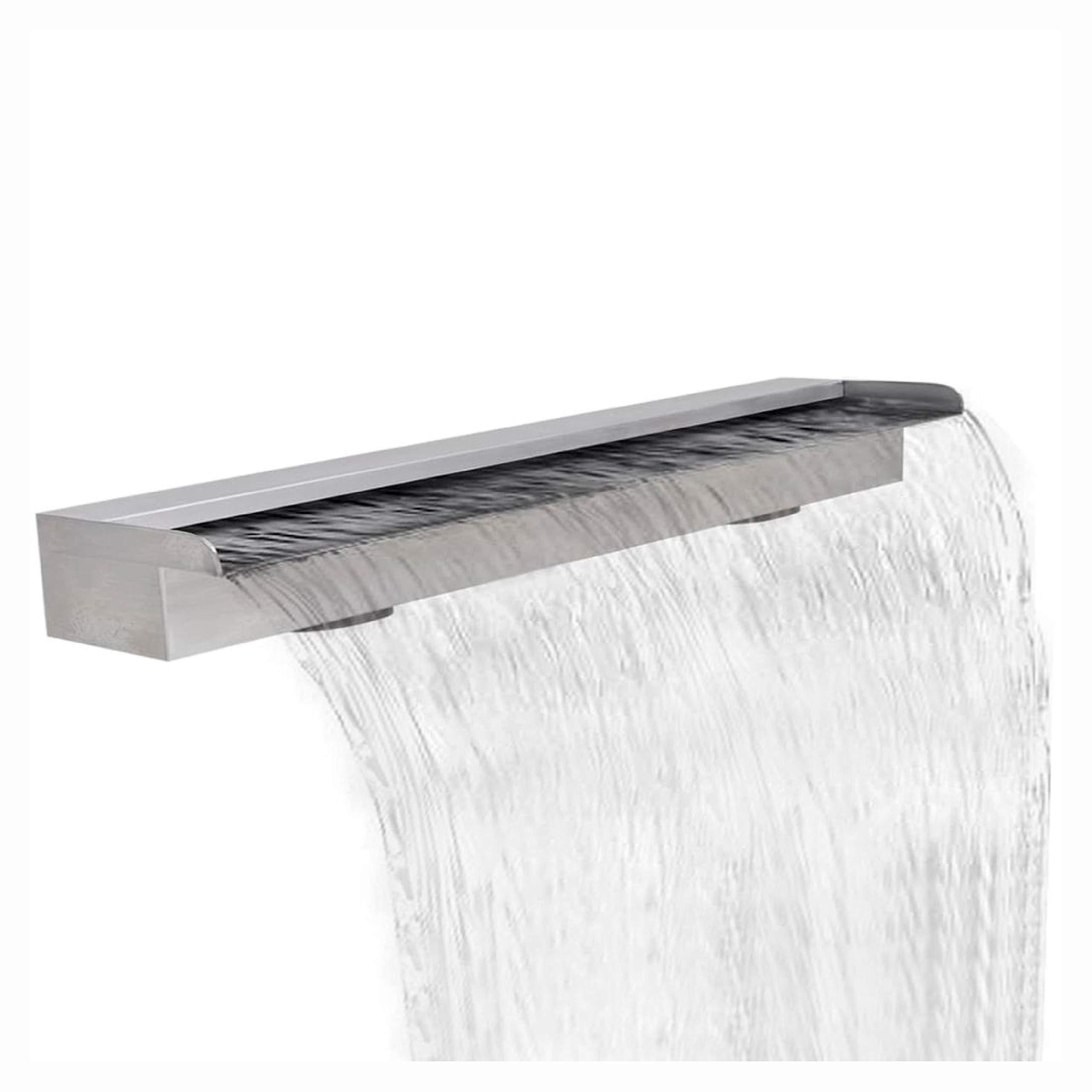 HomyDelight Fountain & Waterfall, Rectangular Waterfall Pool Fountain Stainless Steel 59''
