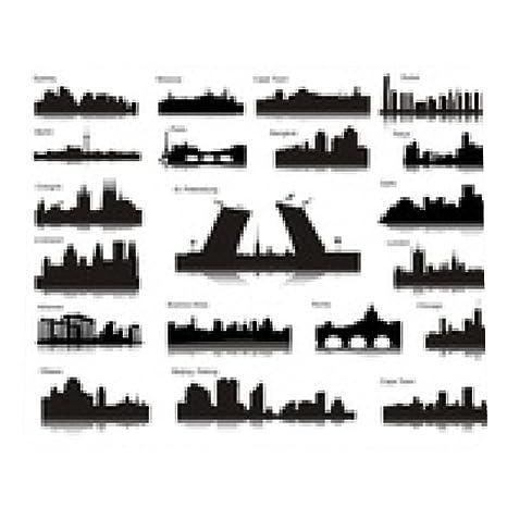 alfombrilla de ratón Siluetas de ciudades de los diferentes paÃses del mundo: Amazon.es: Electrónica