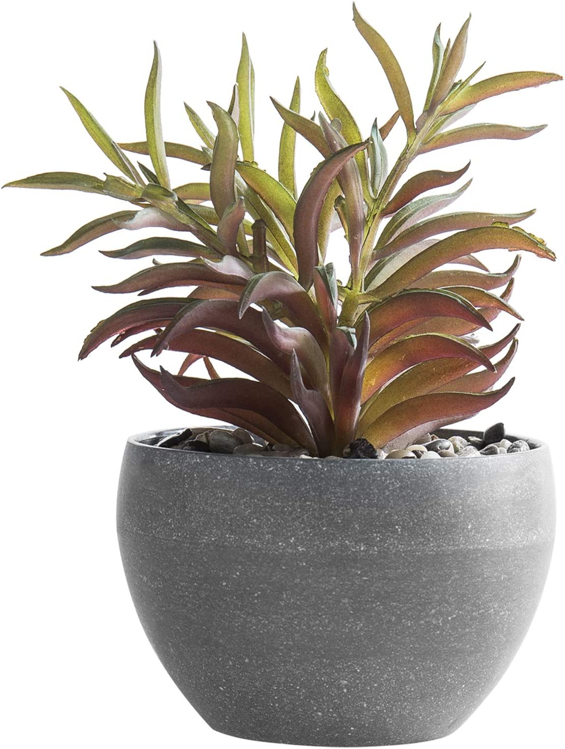 MyGift 5-inch Decorative Artificial Succulent Greenery Plant with Round Gray Melamine Planter