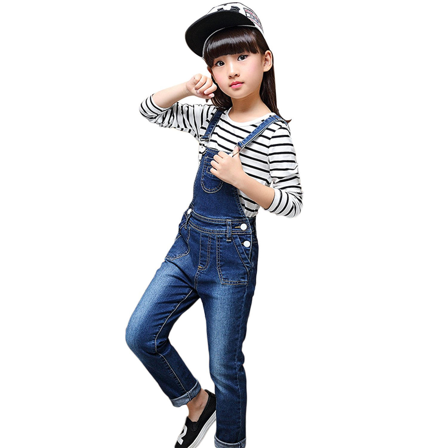 YJ.GWL Girls Denim Overalls Sets Stripe Top 2 Pieces Girls Outfits(Blue,150)