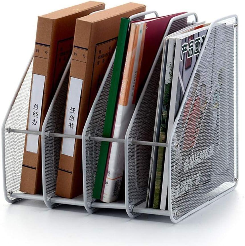 blanc, Besteffie double Grille fer Rack de stockage /étag/ère Bureau livre Magazine de stockage Organiseur Bureau Rack de gestion des fichiers