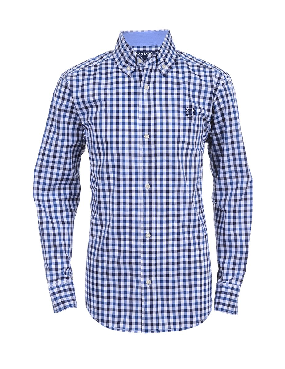 Chaps Big Boys' Long Sleeve Woven Shirt with Stretch, Landon Newport, M10/12