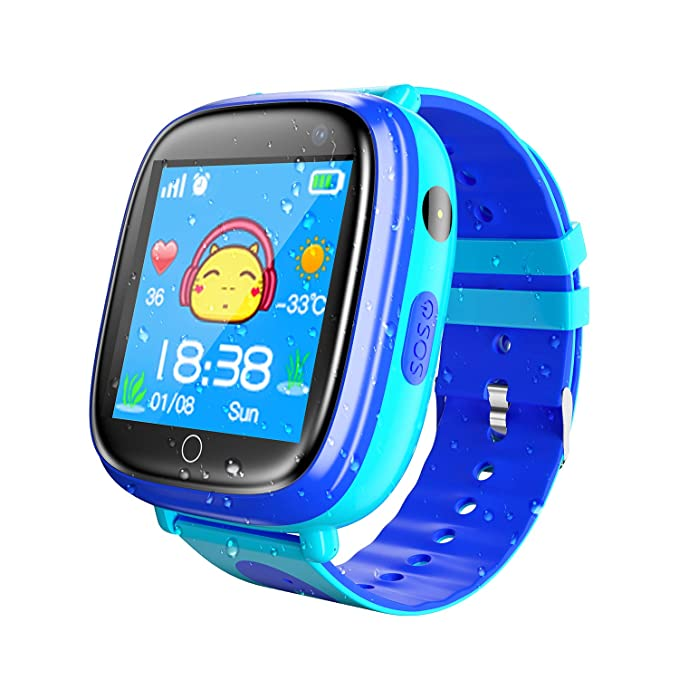 Smart Watch for Kids Waterproof Smartwatch with GPS Tracker Function -IP67 Waterproof- SOS Alarm Clock Flashlight Camera With Phone Christmas Birthday ...