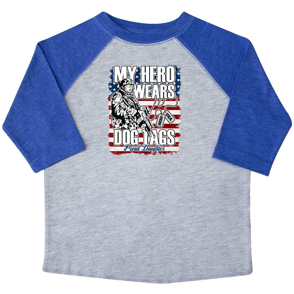inktastic Military Proud Daughter Hero Wears Dog Tags Girls Toddler T-Shirt