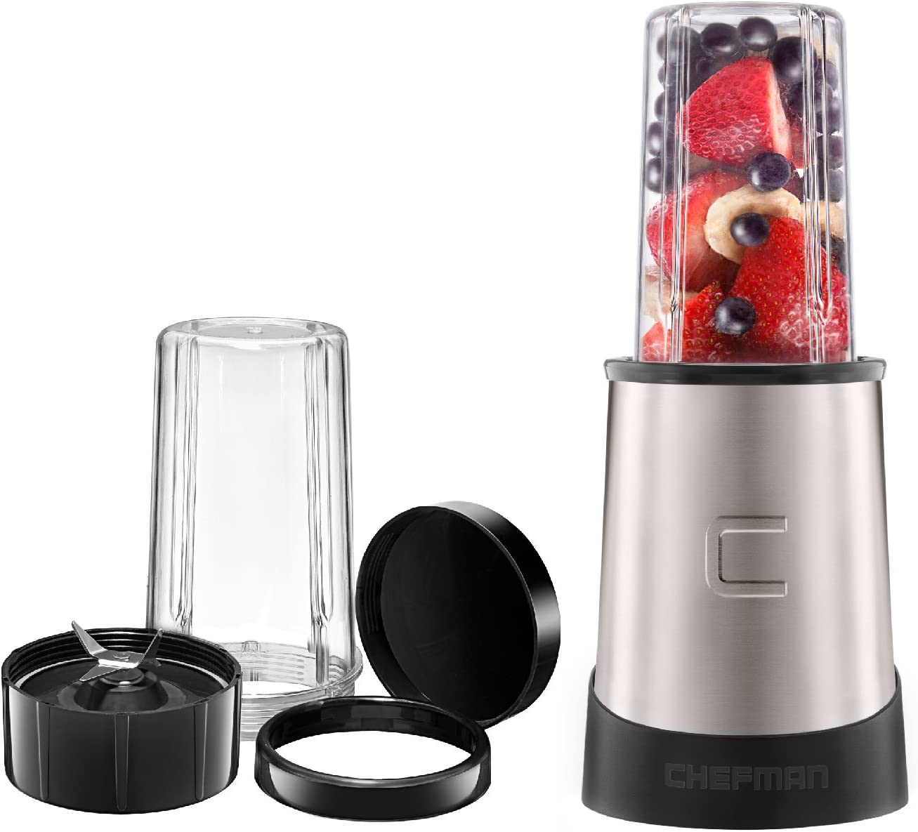 Chefman Personal Ultimate Kitchen Blender Quick Portable Blending of Shakes, Smoothies, Baby Food & Juice, 2 Travel Cups & Drinking Rim,6-Piece Set,Dishwasher-Safe Stainless-Steel, Black