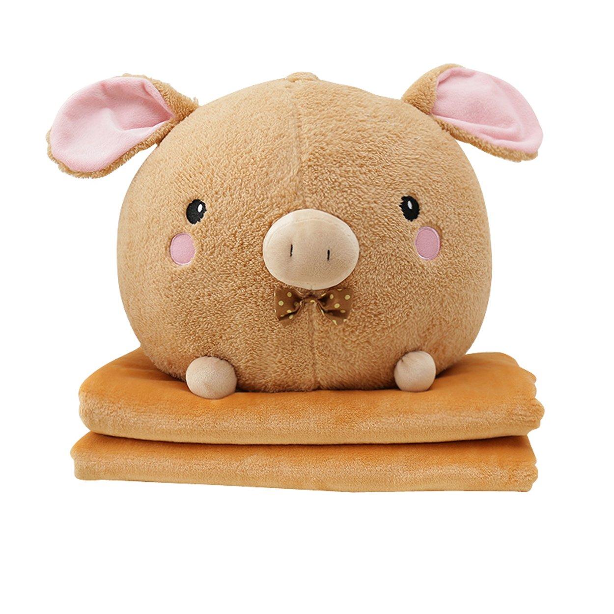 Lovely Cartoon Stuffed Animal Toys Super Soft Warm Comforter Travel Blanket Plush Throw Pillow Folded Fleece Blankets Quilt Set 2 in 1 (39'' X 59'', Light Brown Pig)