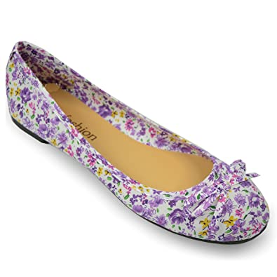 Brand New Ladies Womens Flat Ballerina Shoes Floral Pattern Canvas Ballet Dolly Pumps Bow Slip On Fresh Summer Look Loafers Girls Roses Flower Print ...