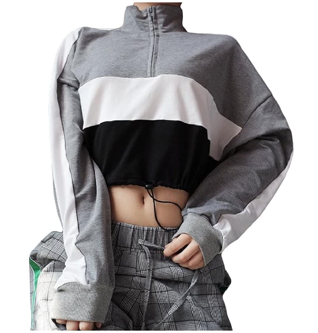 CrazyDay Womens Drawstring Patched Crop Tops Hit Color Pullover Sweatshirts