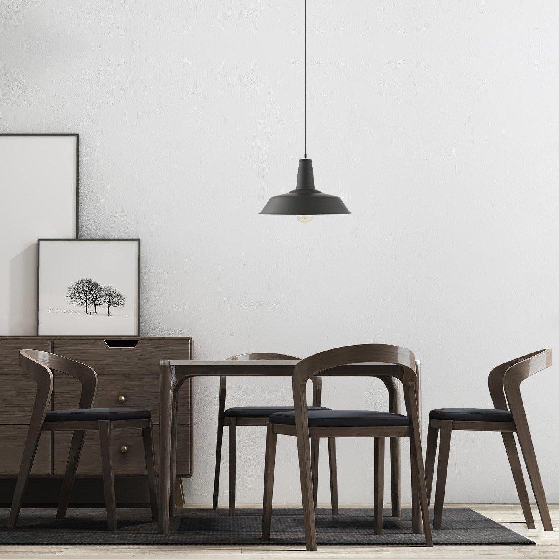 Light Society Kress Pendant Light, Matte Black Shade with White Interior, Vintage Modern Industrial Farmhouse Lighting Fixture (LS-C199-BLK) by Light Society (Image #4)