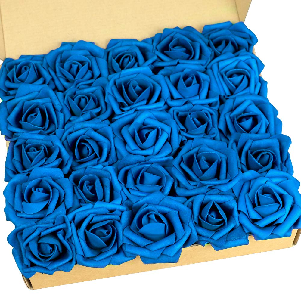 N/&T NIETING Artificial Flowers Roses 25pcs Real Touch Artificial Foam Roses Decoration DIY for Wedding Bridesmaid Bridal Bouquets Centerpieces Party Decoration 25pcs Gradient Purple Home Display