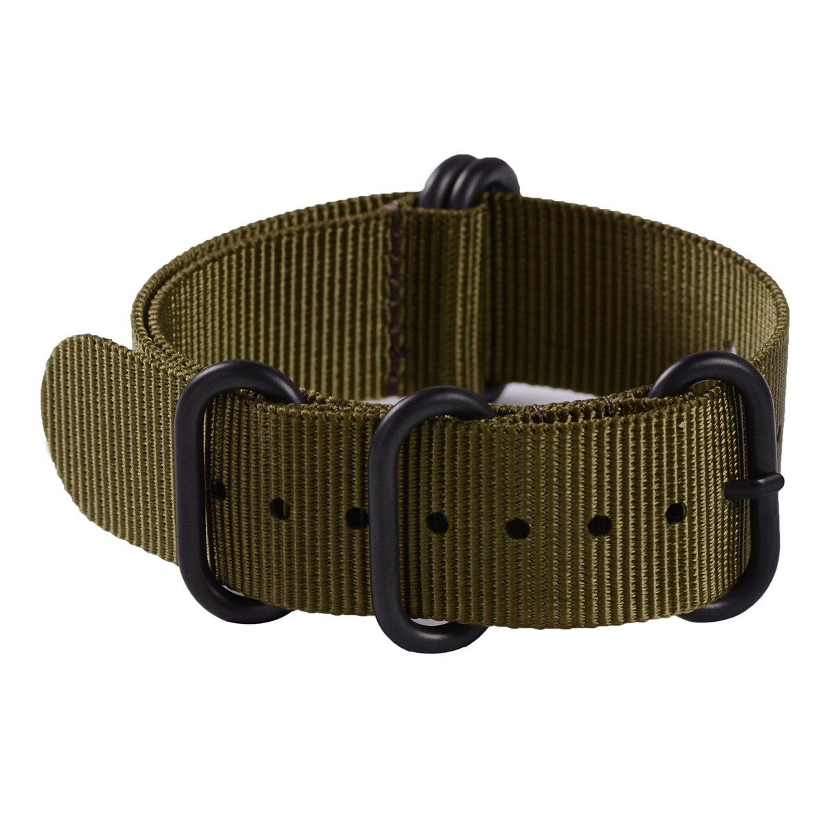 eache BallisticナイロンZuluバンド20 mm 22 mm 24 mm 22mm Olive-Black Hardware 22mm|Olive-Black Hardware Olive-Black Hardware 22mm B0711MTC32