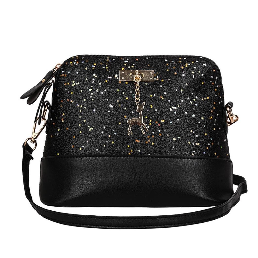 Women Shoulder Crossbody Bag, TOOPOOT Lady Elegant Sequins Shoulder Tote Messenger Zip Pocket Square Bag (Black)