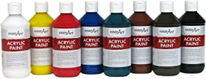 Handy Art 881-020 8 Color - 8 Oz Primary Acrylic Paint Set, Assorted