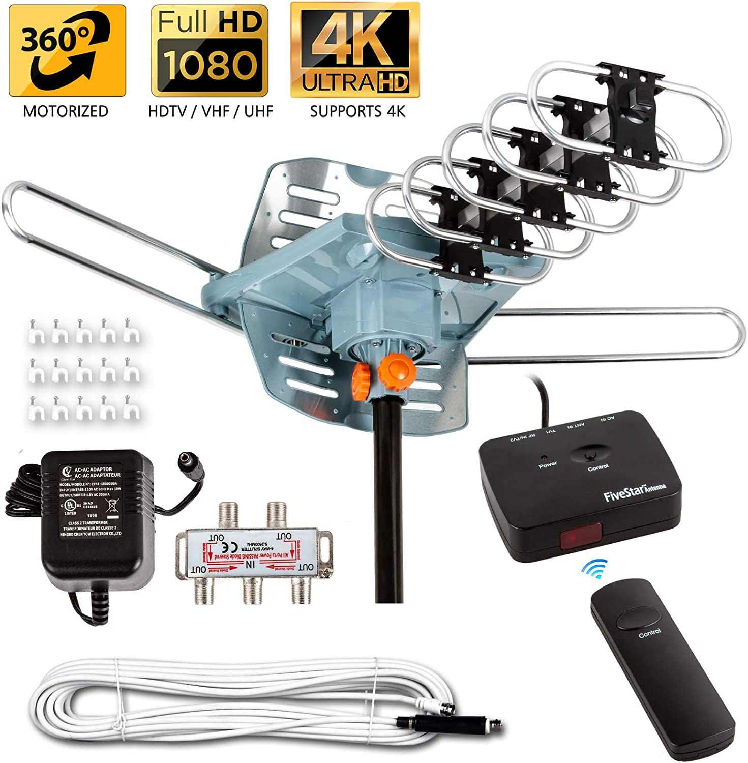Five Star [Newest 2020] HDTV Antenna Amplified Digital Outdoor Antenna 150 Miles Range, 360 Degree Rotation Wireless Remote, with 40FT Coax Cable Installation Kit Supports 5 TVs