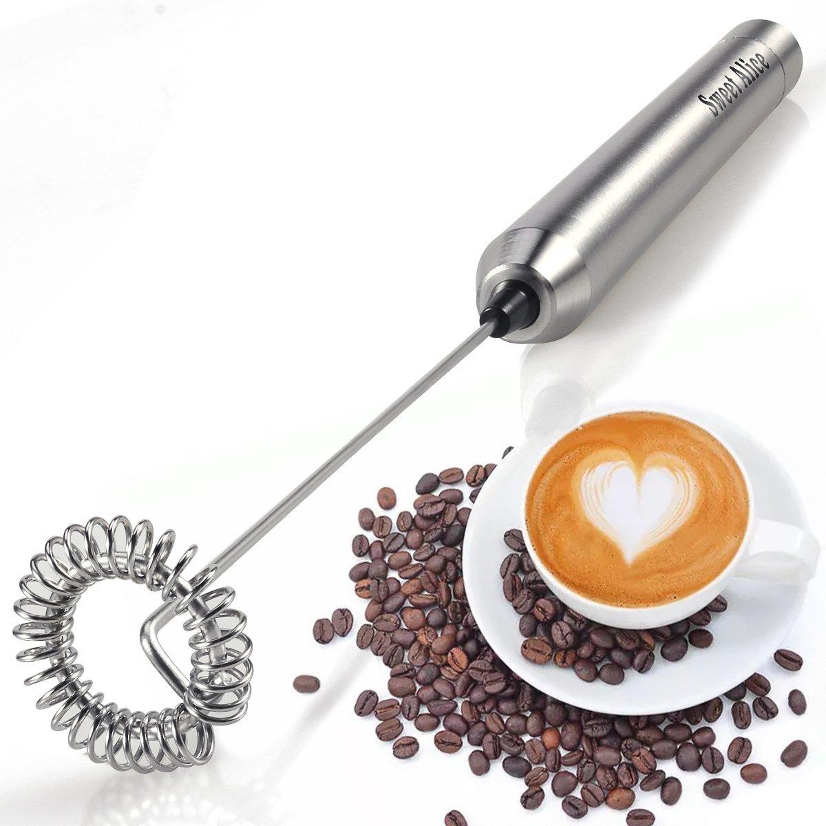 Espumadora de Leche eléctrica de Mano,Batidor de Leche vaporizador de Leche Dulce Alice, con batería, Boquilla de Leche automática de café Máquina de Leche ...