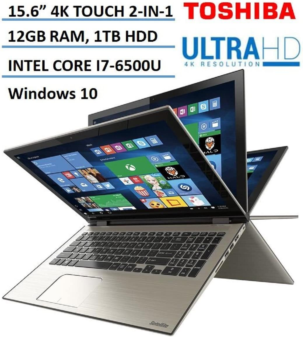 "Toshiba Satellite Radius 2-in-1 15.6"" Ultra HD 4K Touchscreen Laptop, Intel Core i7-6500U Processor, 12GB RAM, 1TB HDD, Backlit Keyboard, Windows 10, Carbon Gray"
