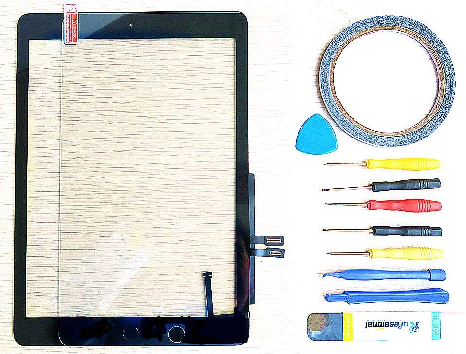 yayayahu New Replacement Parts for IPAD 5 5TH 2017 A1822 A1823 9.7 inch Glass Touch Screen Digitizer + Repair Tool Kit (Black)