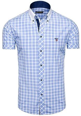 BOLF Herren Hemd Freizeithemd Figurbetont Slim Fit 5531 Hellblau M [2B2]