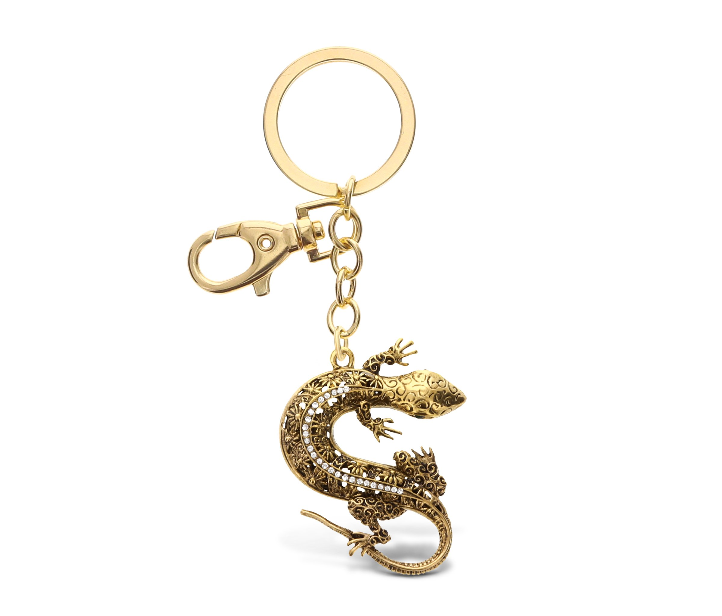 CoTa Global Gold Gecko Lizard Sparkling Metal Charm - Unique Vintage Style Pendant Keychain Stylish Elegant Fob in Crystal Studs 6.5 Inch Bag and Keys Office Or School Accessory - Item 6676-10