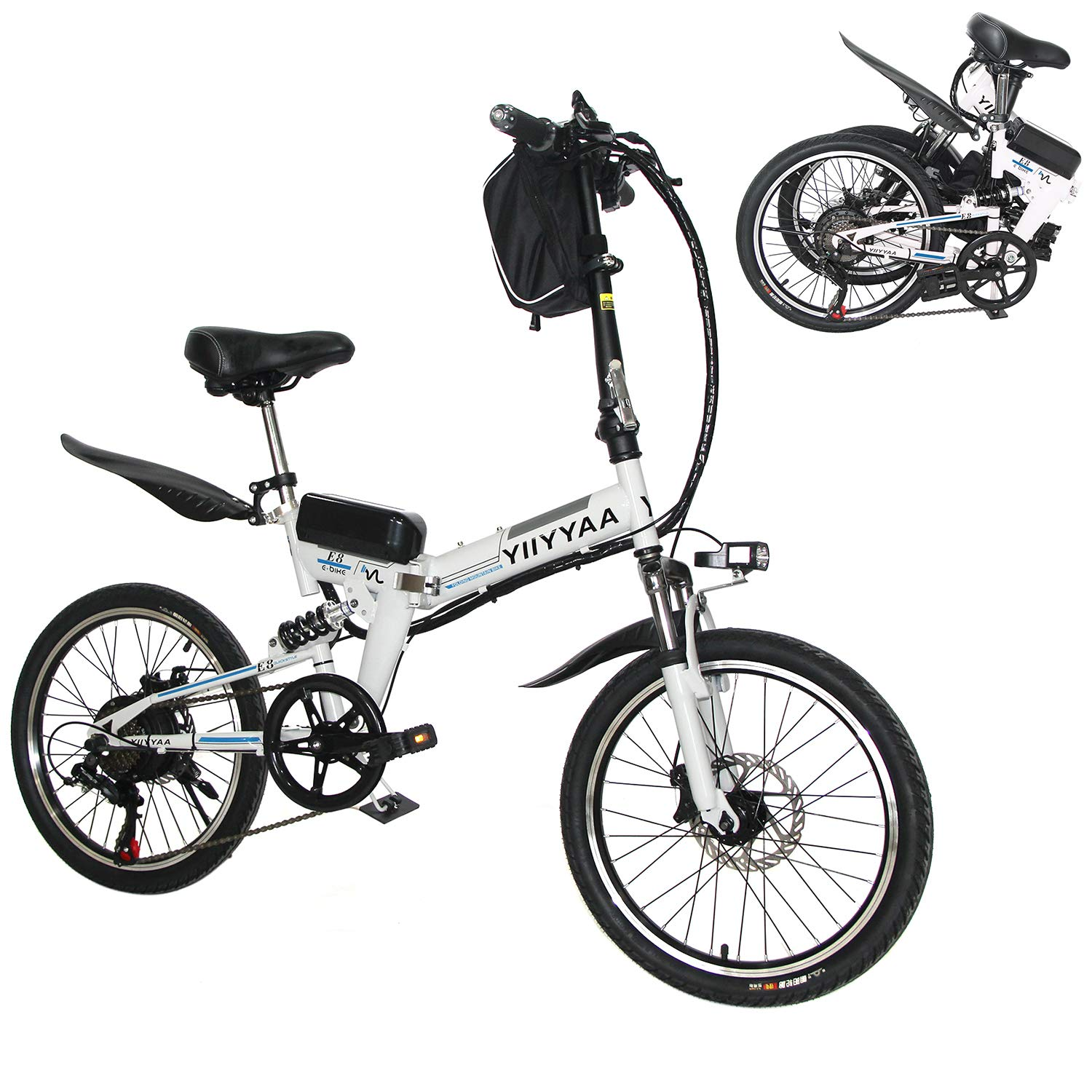 Electric Commuter Bike >> Yiiyyaa Folding Electric Bike 20 Inch Ebike Commuter Bicycle With 36v 350w Motor And Shimano 7 Speed Shifter