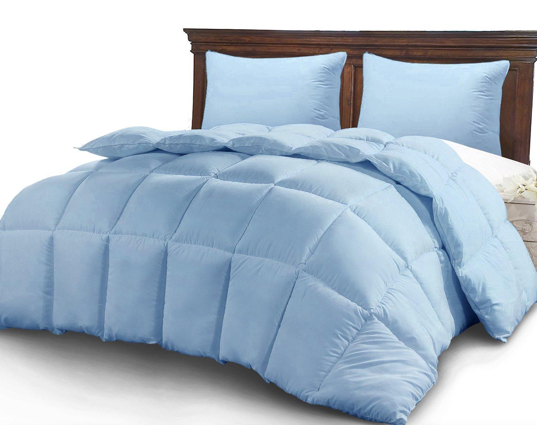 CGK Unlimited King Size Comforter - Solid Squared Duvet Insert Light Blue - Softer Than Goose Down Alternative Duvets - All Season Comforters