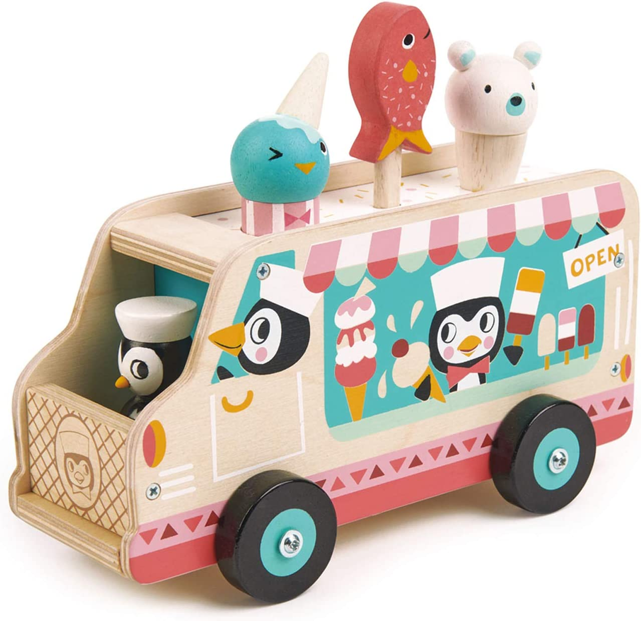Tender Leaf Toys - Penguin's Gelato Van - Food Truck Style Pretend Food Play Ice Cream Wooden Vehicle - Encourage Role Play and Develops Social Skills for Children 3+
