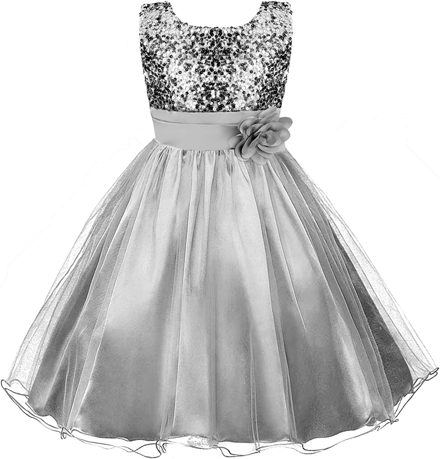 Acecharming Girls Dresses Sequin Flower Girls Party Dress Bridesmaid Ball Gown Wedding Tulle 3-10 Years