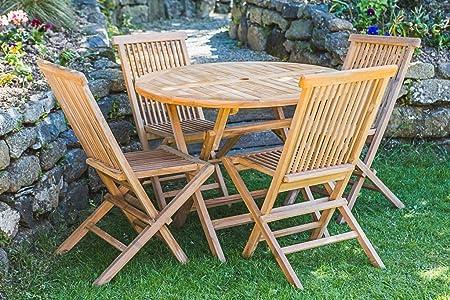Teca maciza 1 m Circular mesa plegable y silla plegable muebles de ...