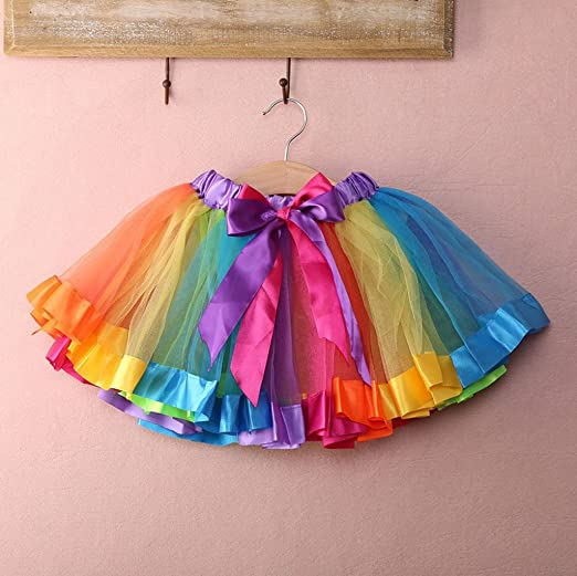 247c20276 Phenovo Kids Handmade Colorful Tutu Skirt Girls Rainbow Tulle Tutu Mini  Dress S: Amazon.in: Clothing & Accessories