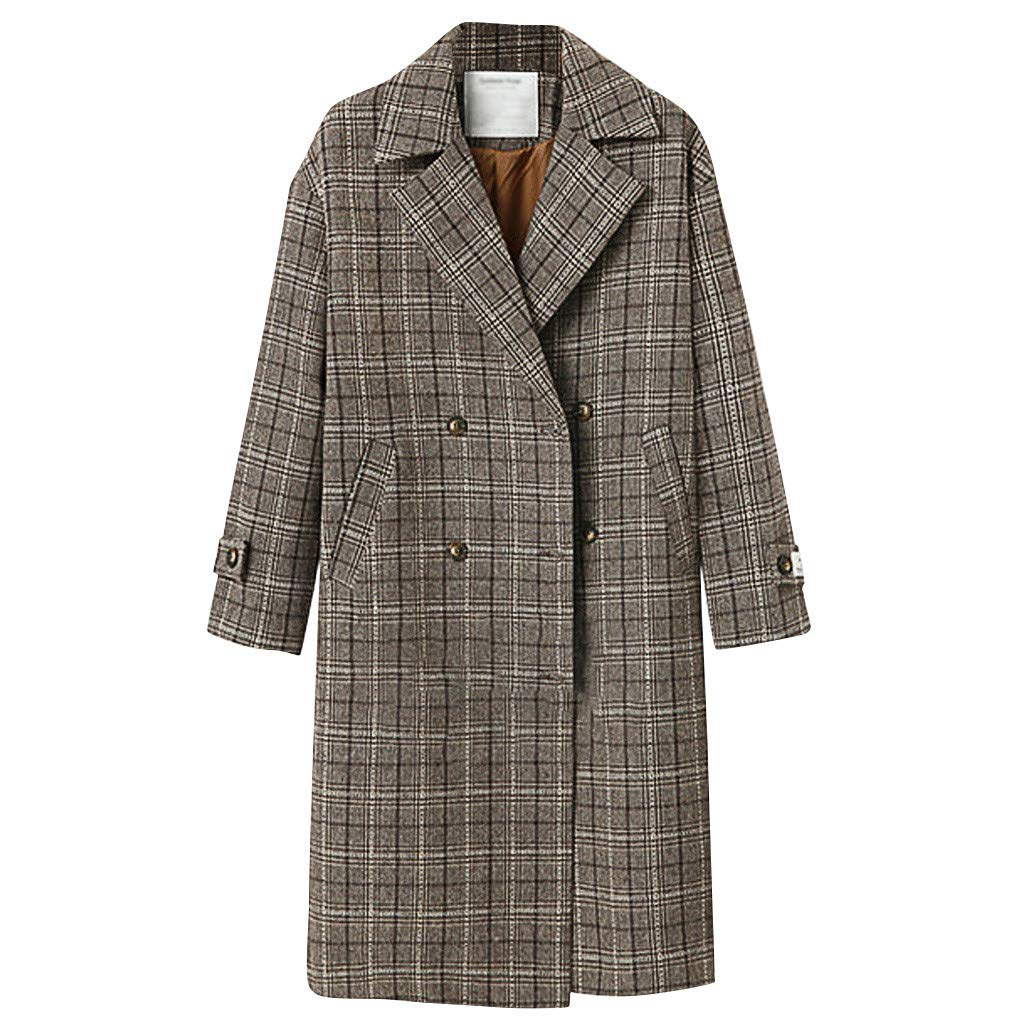 Yanvan Fashion Women Winter Trench Jacket Plaid Double-Breasted Buttoning Long Sleeve Jacket Coat Overcoat by Yanvan