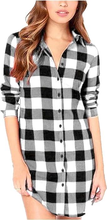 ZANZEA - Blusas sexy de cuadros para mujer, blusas de manga larga, cuello en V, camisetas de tartán: Amazon.es: Ropa y accesorios