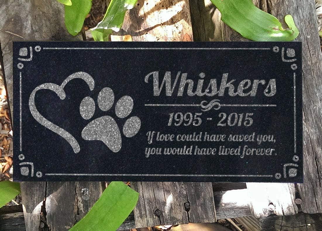 Lplpol Pet Memorial Stone Personalized Heart Paw Headstone Garden Plaque Custom Engraved Cat Memorial Dog Grave Markers in Granite Memorial Stone