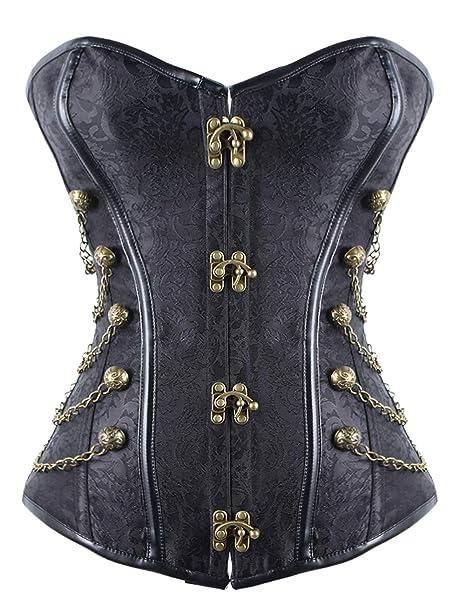 a30c94f3cac9 FeelinGirl corsagetop corset vintage da donna con  brokatmuster-stahlstäbchen-Fascette con rivetti-steampunk/gothic:  Amazon.it: Abbigliamento