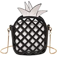 Yiwa Girls Individual Pineapple Hollow Stitching Contrast Color Chain Bag PU Shoulder Bag Messenger Bag