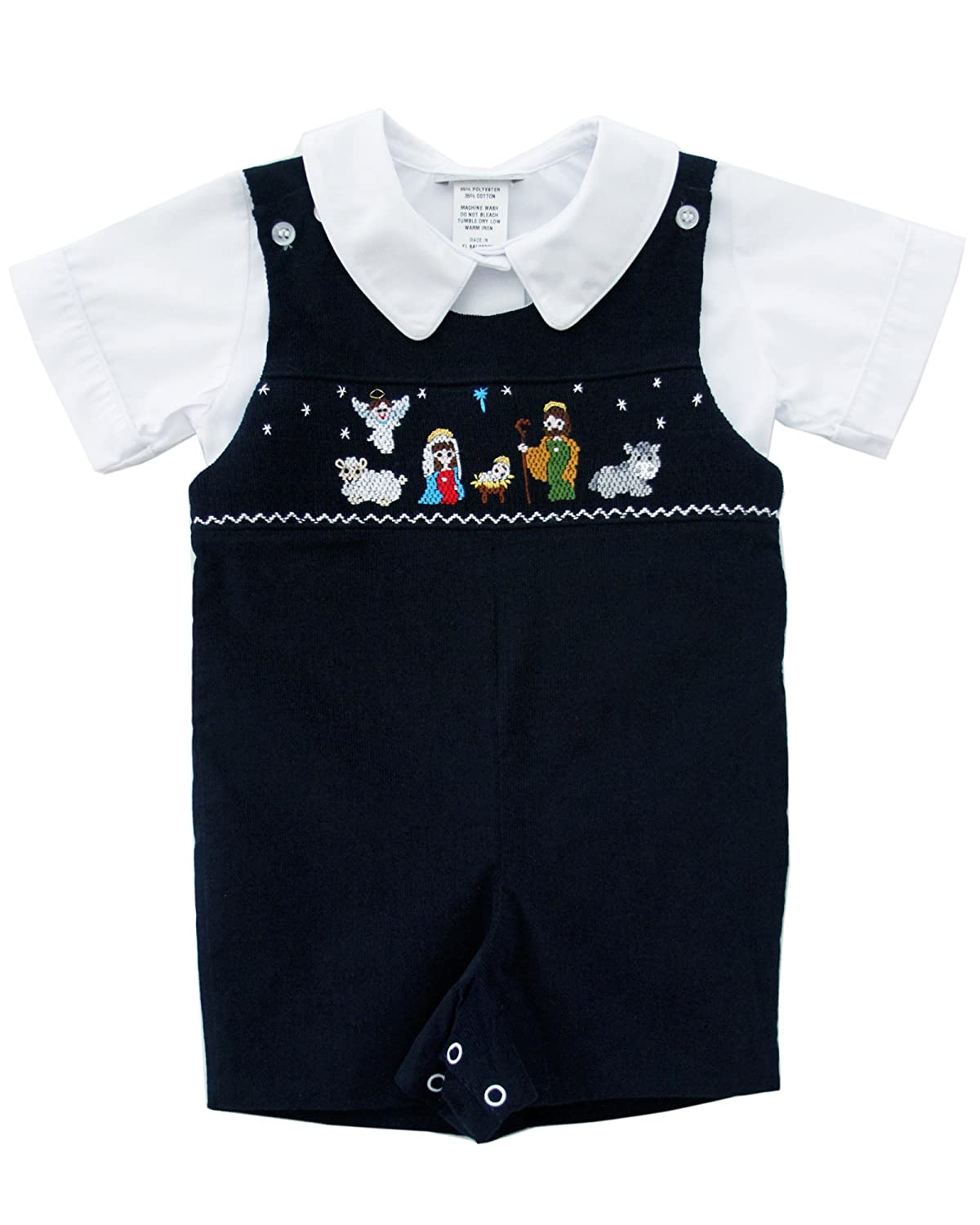 Baby Boy Smocked Nativity Jesus Christmas Jon Jon Shortall Navy Corduroy