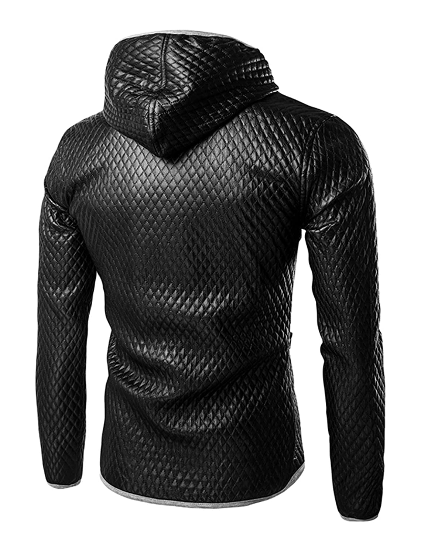 sourcingmap Men Full Zip Contrast Color Quilted Design PU Hooded Jacket