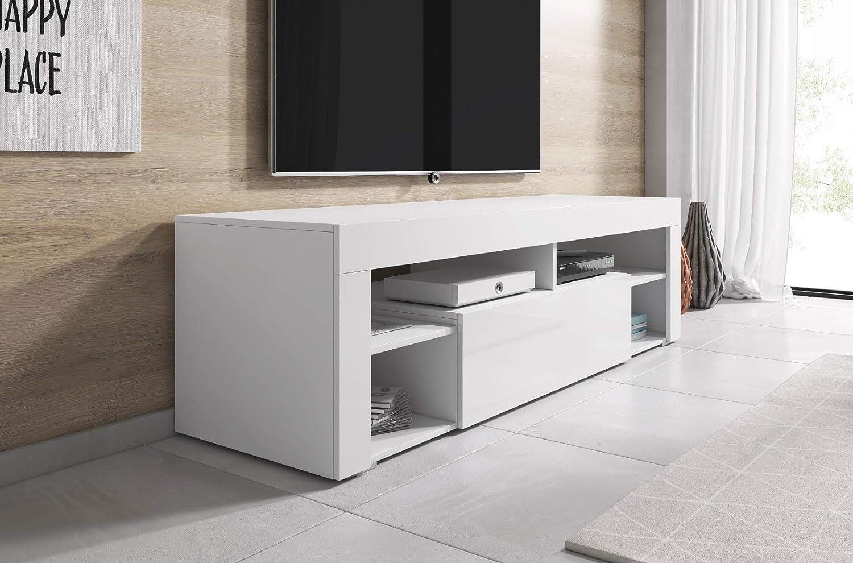 Wei/ß TV-Lowboard Fernsehschrank Fernsehtisch Titan 140 cm E-Com
