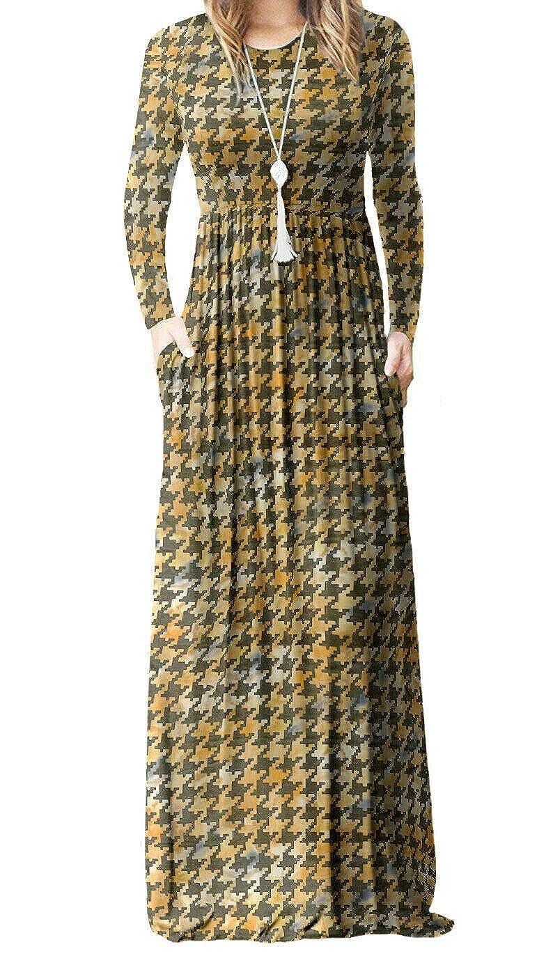 KLSPM Girls Kids Long Sleeve Plain Casual Long Maxi Dress with Pockets Party