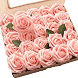 Floroom Artificial Flowers 50pcs Real Looking Peach Pink Fake Roses with Stems for DIY Wedding Bouquets Bridal Shower…