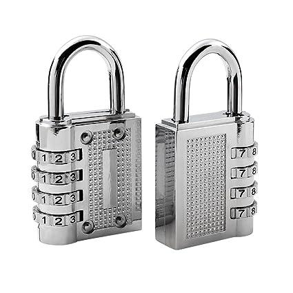 2 Pack- Candados de Combinación, Candado de Seguridad con 4 Dígitos. Perfecto para