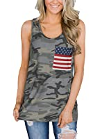 IRISGOD Womens 4th of July Racerback Tank Tops Summer Casual Patriotic Country Shirts with Pocket Camouflage