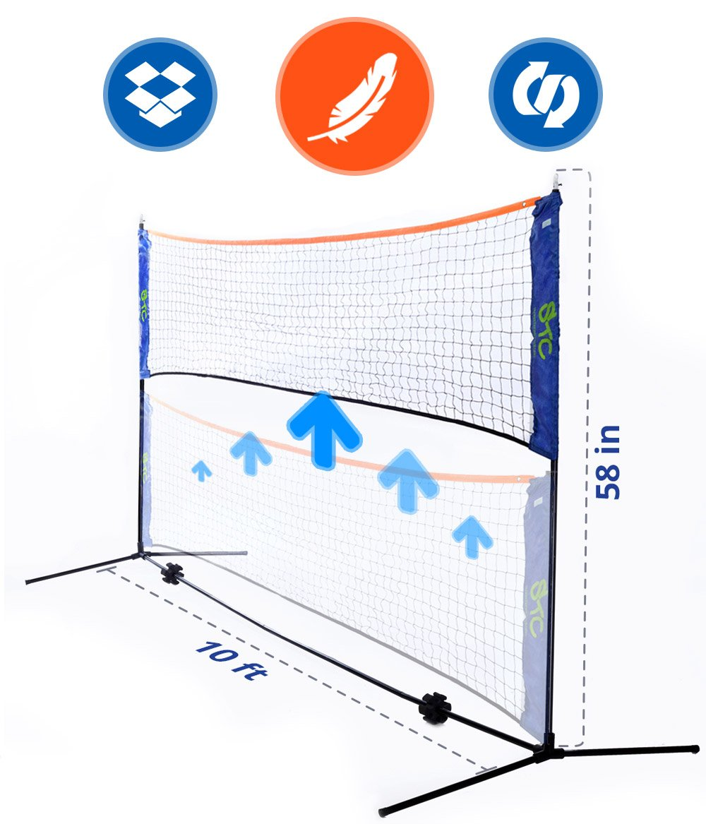 Portable 10 Foot Long and 5 Foot High - Adjustable Height Badminton, Volleyball, or Tennis portable Net Stand for Family Sport Outdoor Games. Total weight 6.2 pounds by Street Tennis Club
