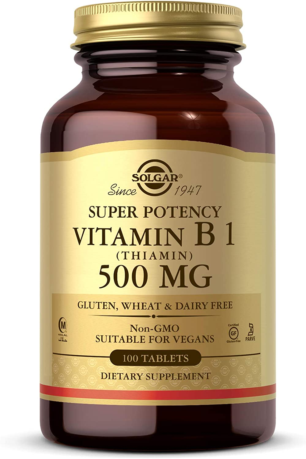 Solgar Vitamin B1 (Thiamin) 500 mg, 100 Tablets - Energy Metabolism, Healthy Nervous System, Overall Well-Being - Super Potency - Non-GMO, Vegan, Gluten Free, Dairy Free - 100 Servings