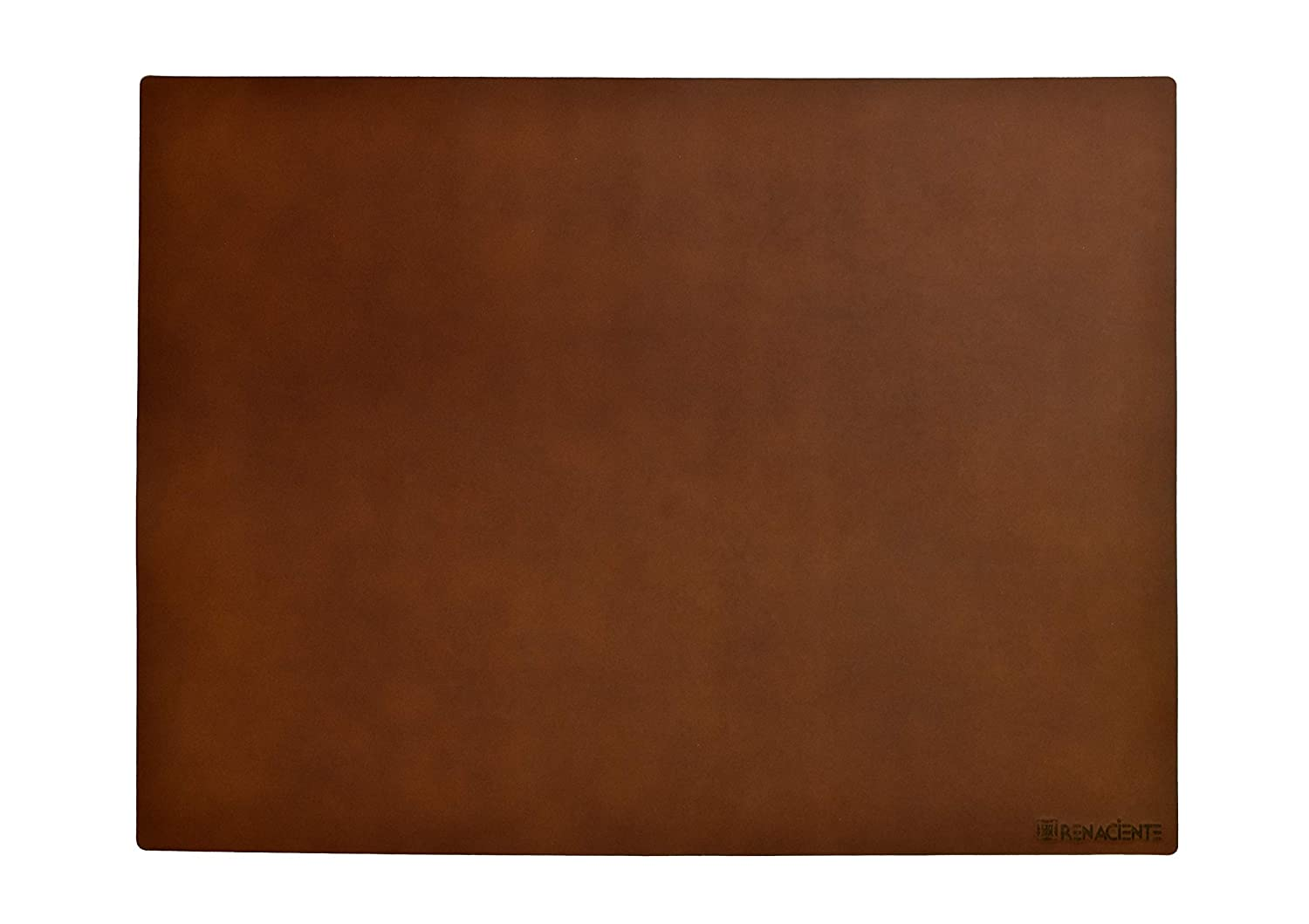 RENACIENTE Genuine Leather Desk Writing Mat (24x16 in.) Natural Vegetable Tan, Top Grain Leather, Smooth Natural Surface. Made in Ecuador (Hazelnut Brown)