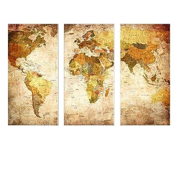 hianiquaime triptyque carte du monde vintage tableau peinture lhuile impression sur toile