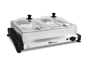 Elite Gourmet EWM-6122 Dual Server Food Warmer, Adjustable Temp For For Parties & Holidays, 2 x 2.5Qt Buffet Trays with Slotted Lids Perfect for Parties, Entertaining & Holidays, Stainless Steel